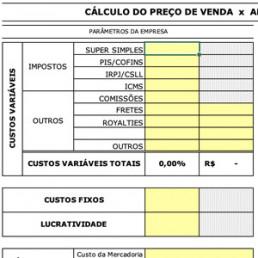 Planilha cálculo do preço de venda no comércio - Sebrae